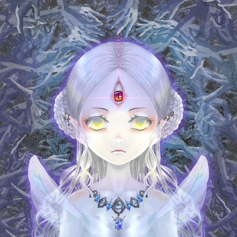 我が愛しき勇者に祝福を Illust of スローロリス1号 March2021_Creature monster girl 金目 心臓 赤目 三つ目 ネックレス 首