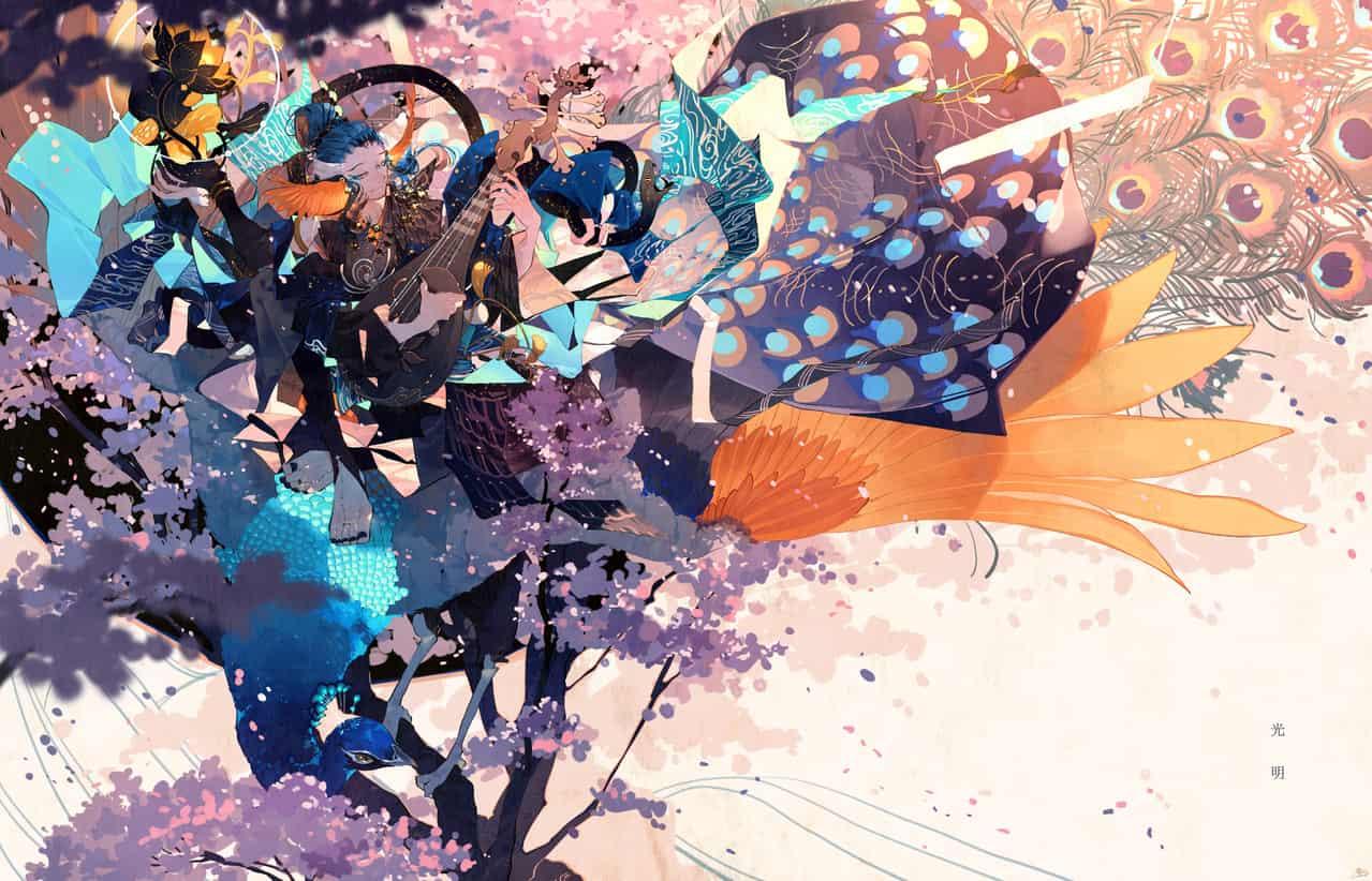 peacock Illust of 鴉羽 凛燈 花見 sakura 孔雀 original 琵琶