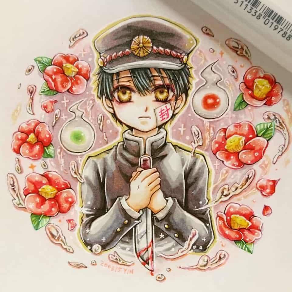花子くん Illust of yinhidaka boy Copic hanakokun Toilet-boundHanako-kun 花子くん doodle 柚木普 handdrawn
