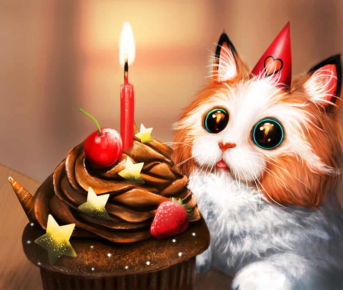 Happy Anniversary! Illust of llorddd July2020_Contest:Anniversary Happy cat cake cute