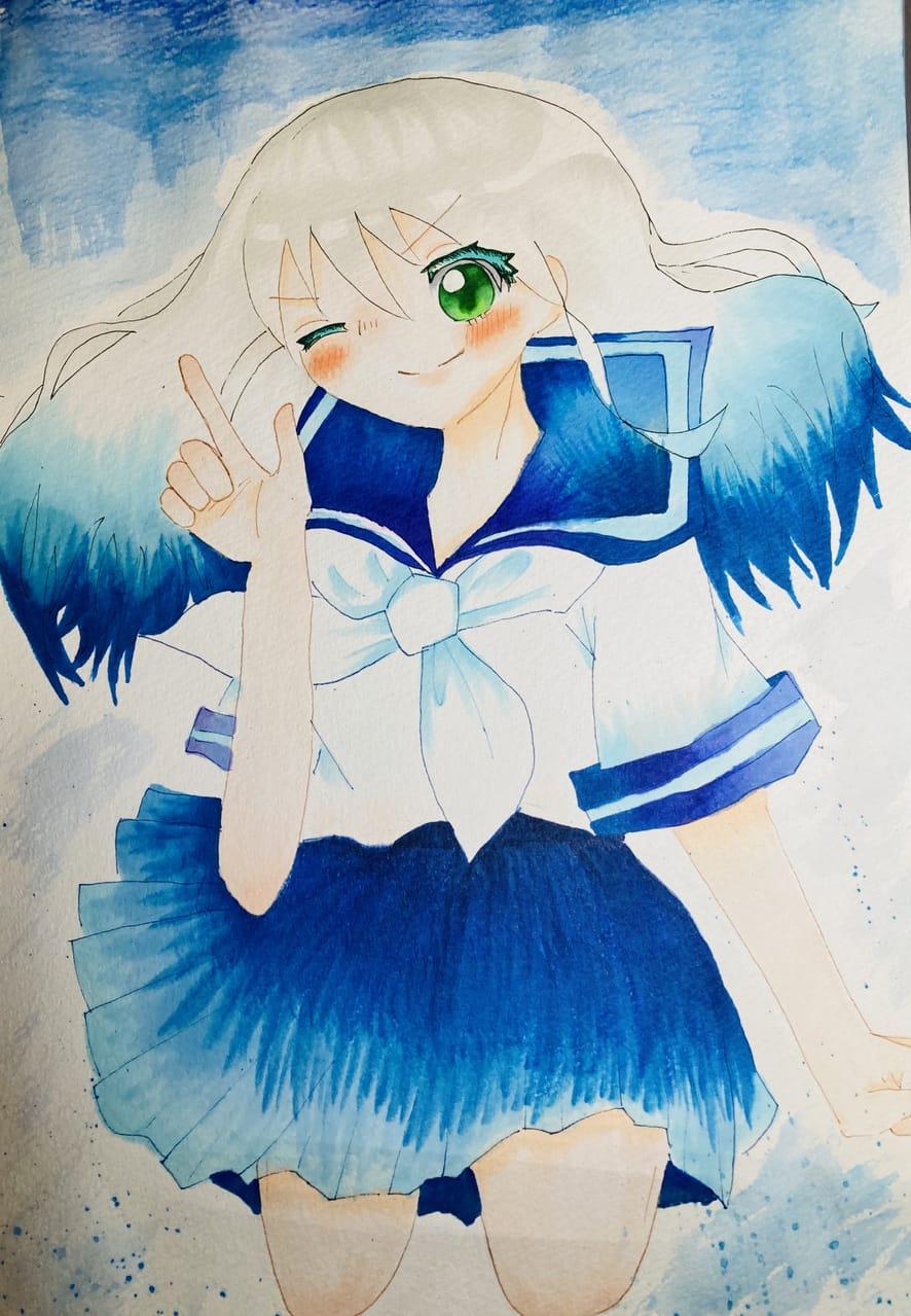弾けろ!! Illust of ラヴィ blue girl white_hair Copic アナログ AnalogDrawing sailor_uniform