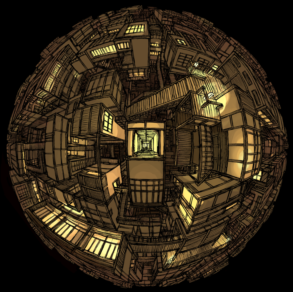 Dimensional Infinity Fortress 異空間無限城 Illust of ReyKomi Circle Japanese_style KimetsunoYaiba perspective fanart KibutsujiMuzan architecture