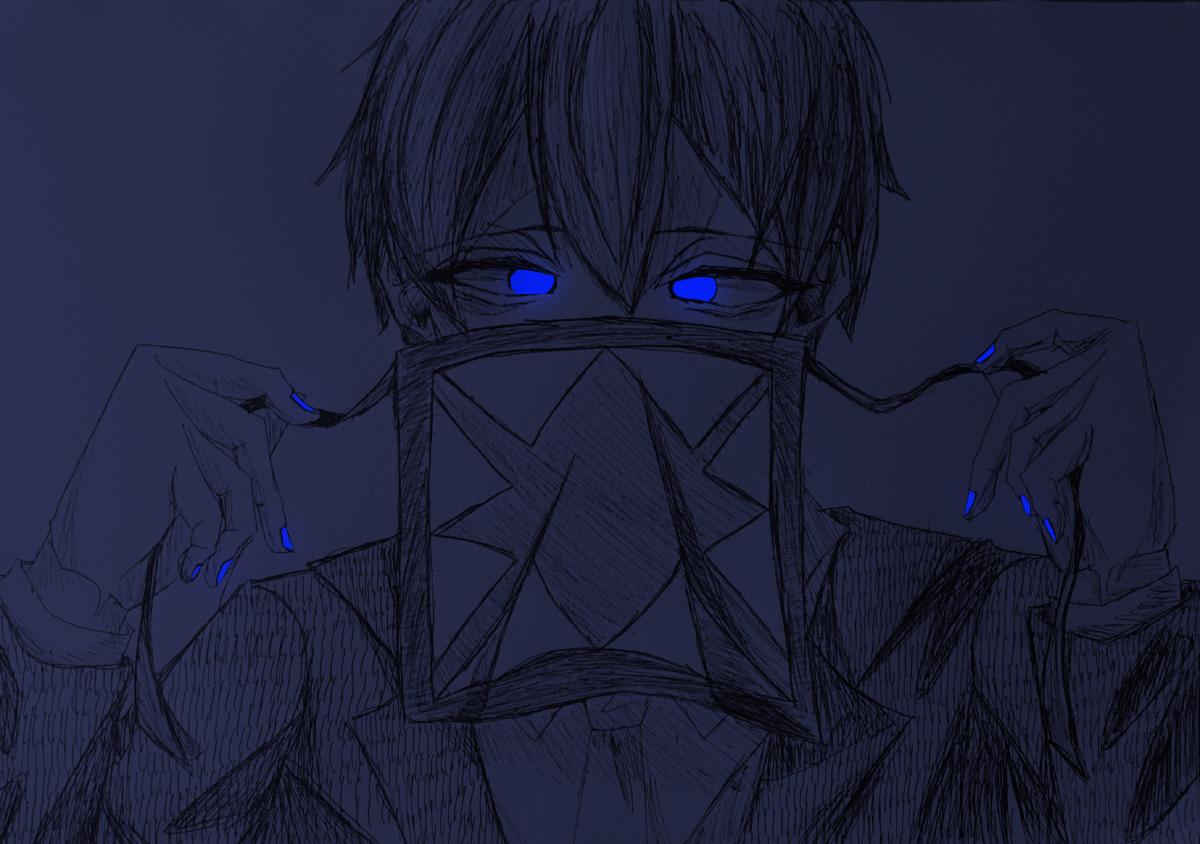コンタミくコ:彡 Illust of 猫丸 版権 アナログ AnalogDrawing らっだぁ運営 ボールペン blue コンタミ イカ