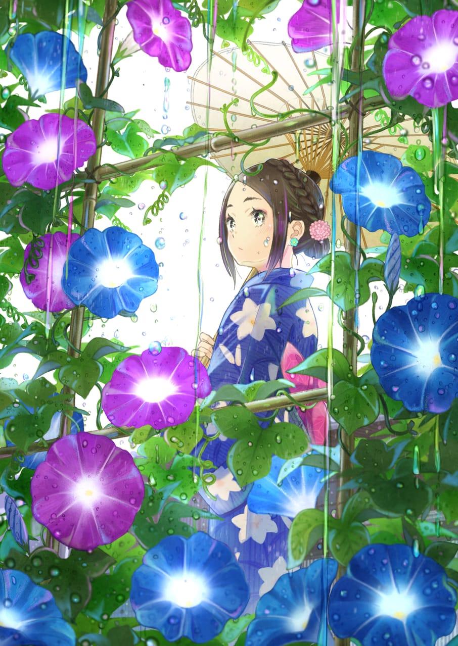色彩の雫 Illust of TAKA rain girl 梅雨 朝顔 original yukata