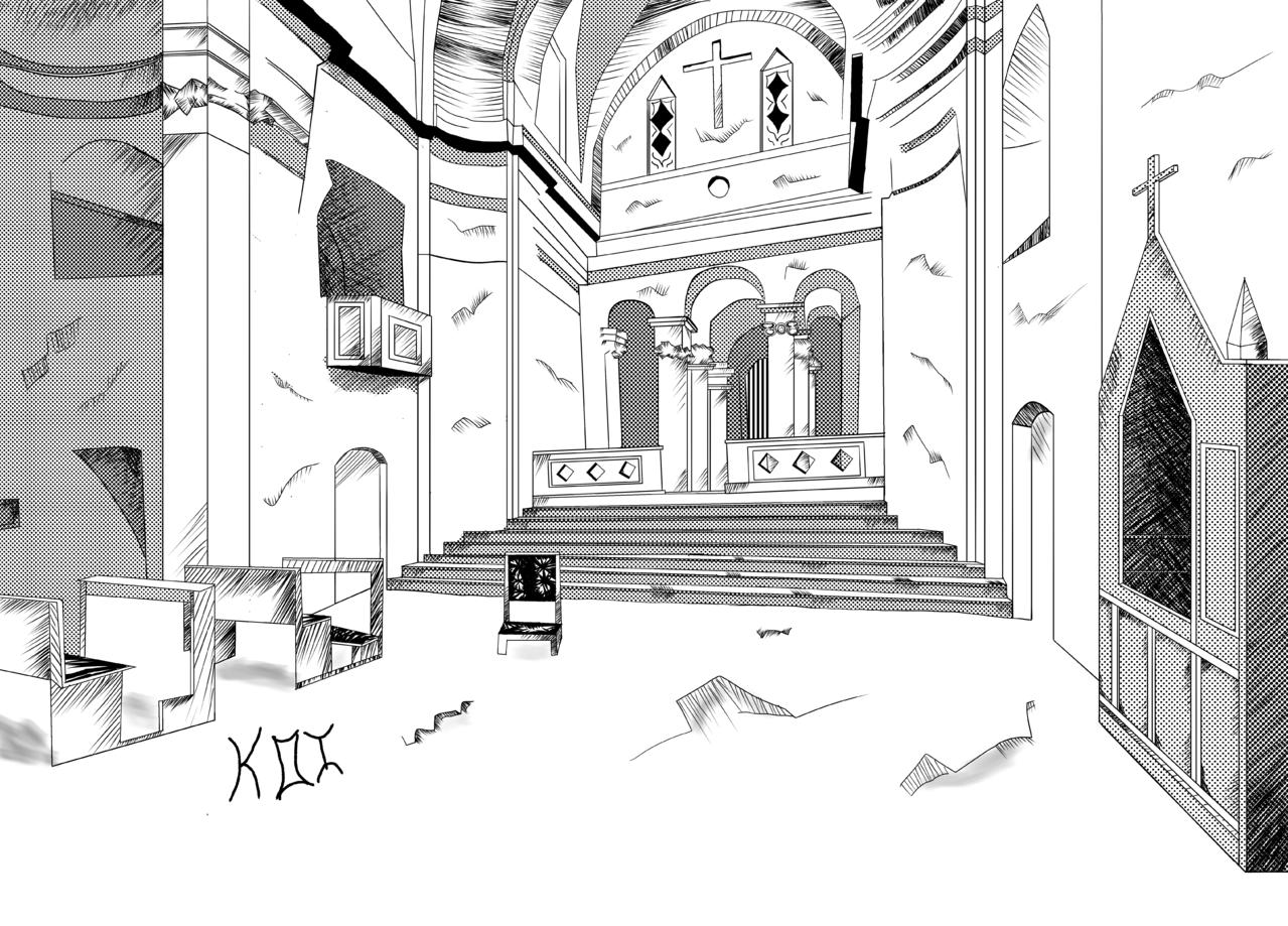 Iglesia abandonado (Grupo Mis pocos amigos) Illust of KOI Fondo