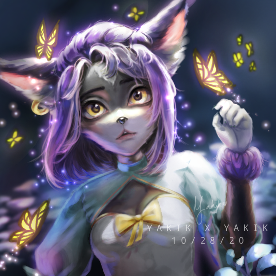 Furry 2 Illust of Yakik September2020_Contest:Furry butterfly cat violet yellow girl Cyan furry