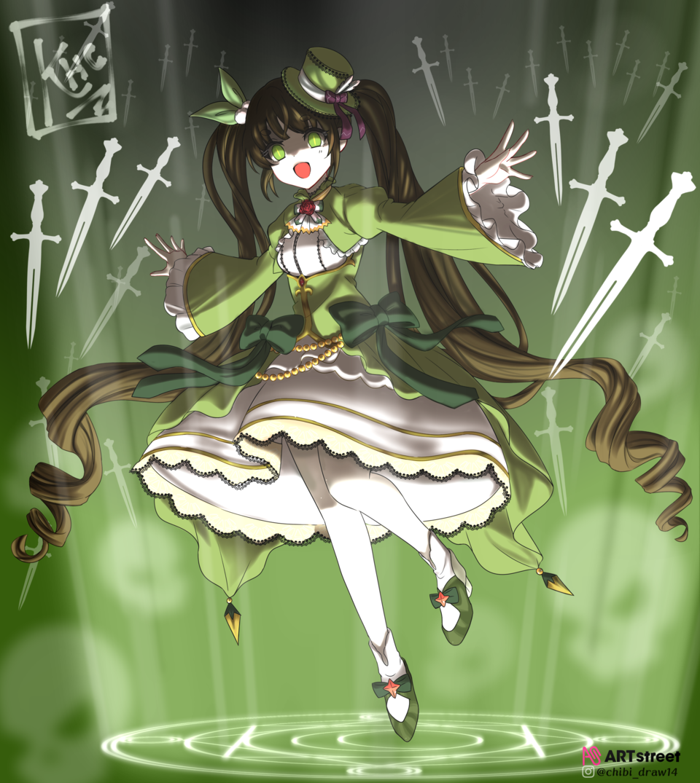 Green Illust of Karenhc ColoringContest art beautiful drawing color digital anime skirt illustration animegirl night medibangpaint