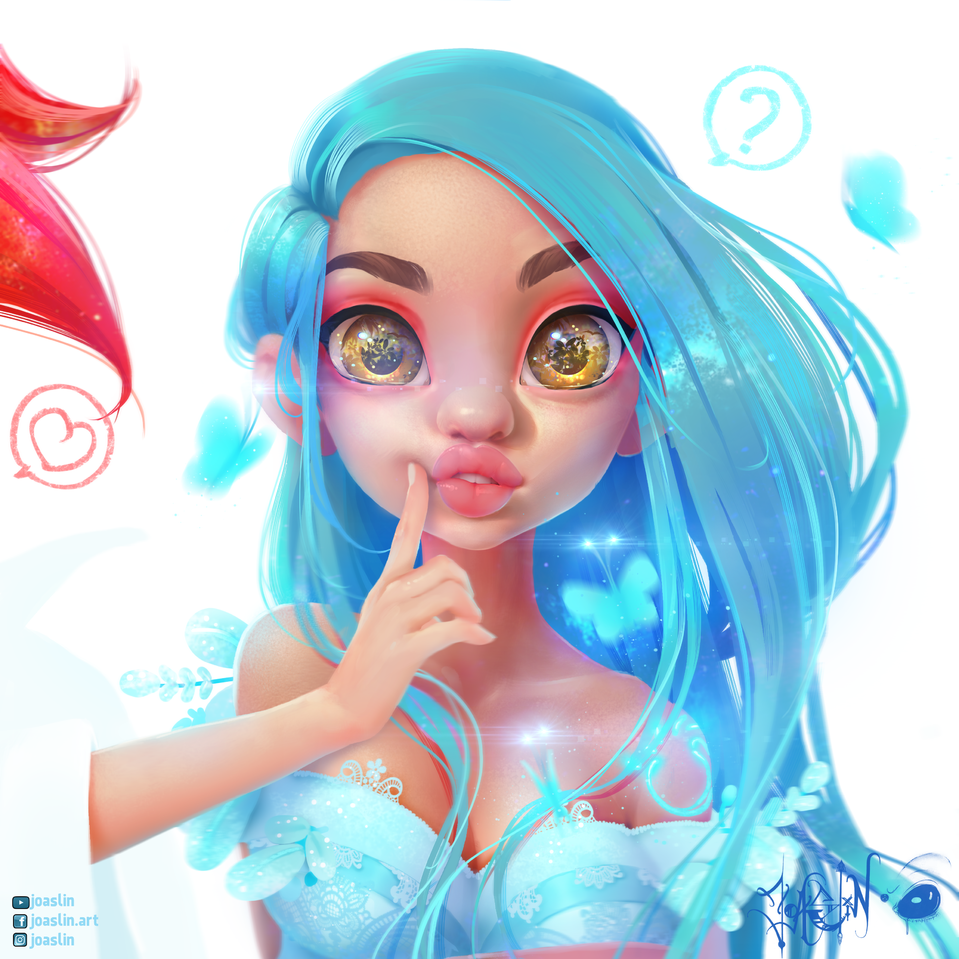Bloom (Blue) 🦋 Illust of JoAsLiN blue hair girl love manga original fanart eyes digital cute