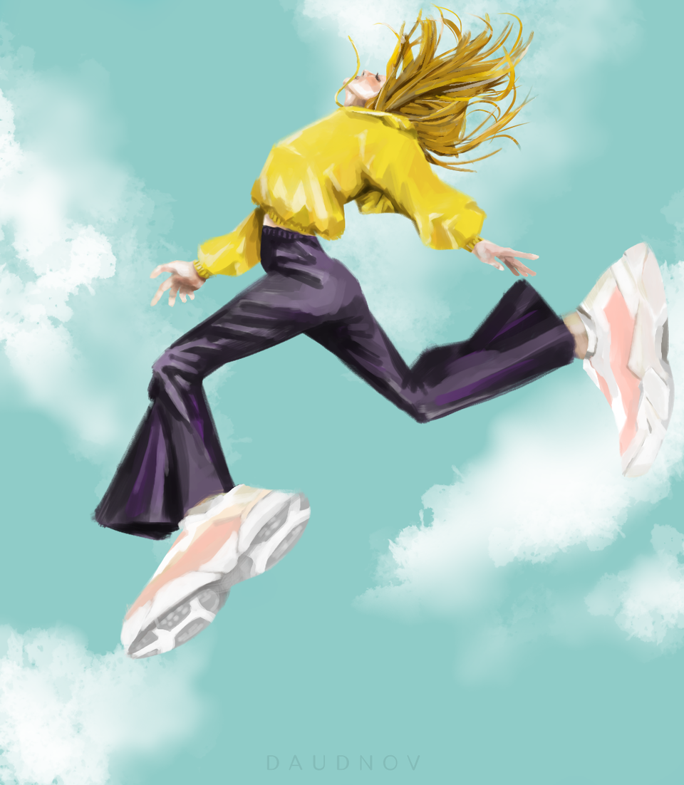 jump Illust of daudnov medibangpaint fashion girl sneakers dance sky realism yellow