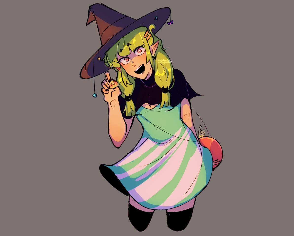 Candy Witch Illust of MintyLime witch cute candywitch Suffering Artwork candy girl suffering pain sweet
