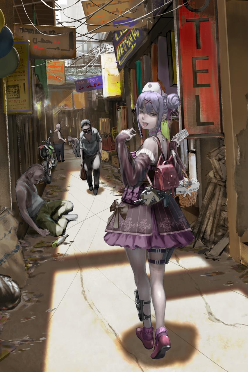 街の薬屋さん Illust of com ゴスロリ ocart 街 Gun oc ミリタリー girl scenery おっさん illustration