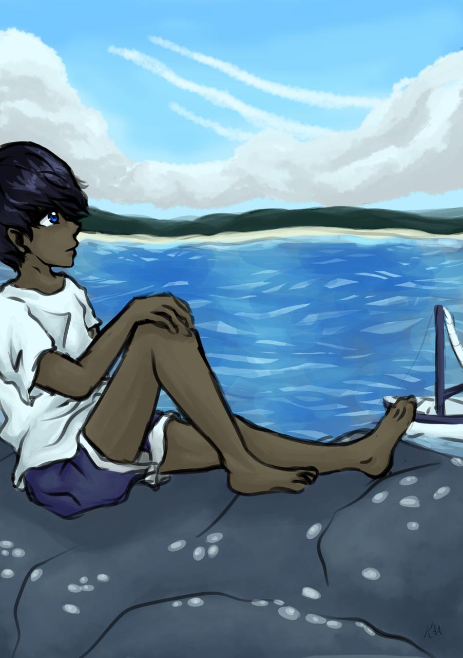ISLAND #1 Illust of Calliope medibangpaint ocean illustration tariq island sea coast boat