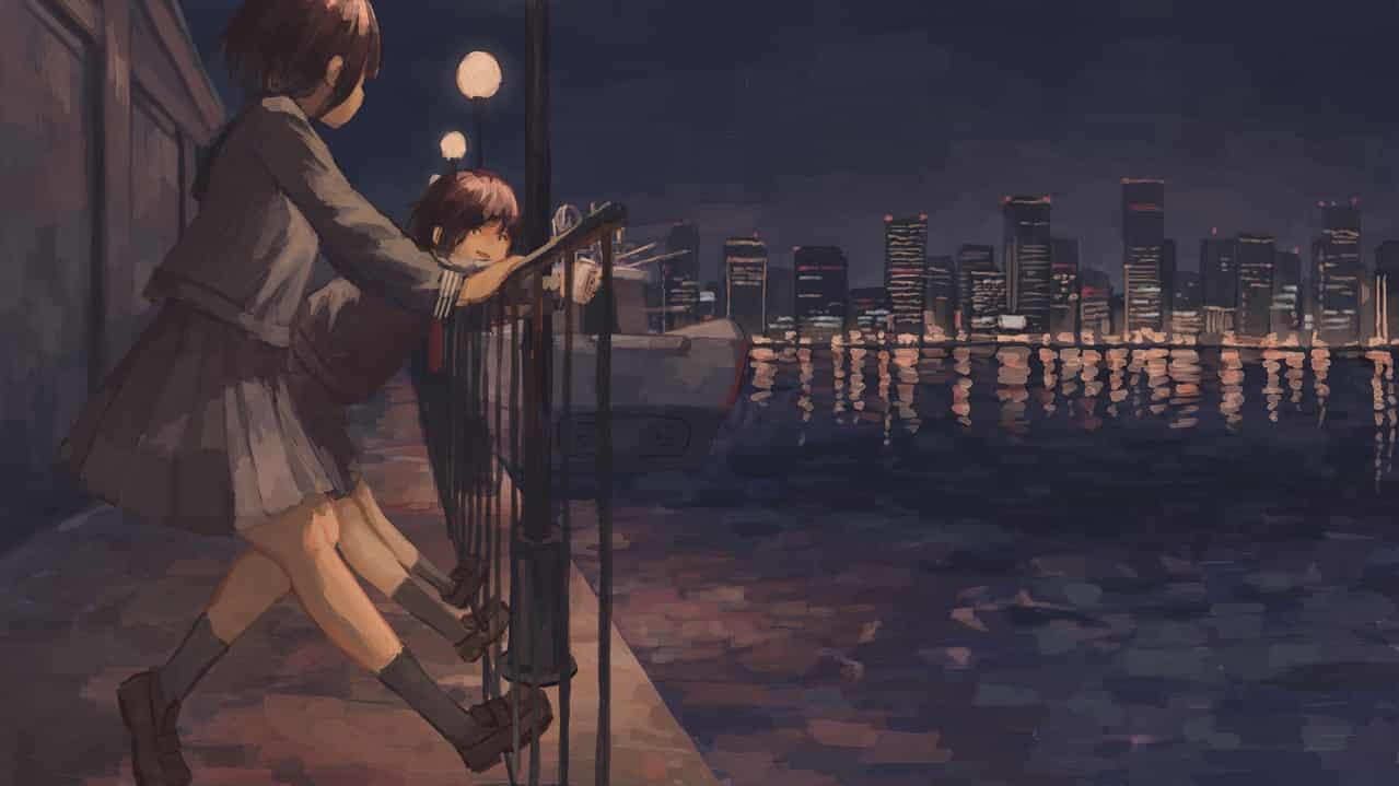 12:00a.m. Illust of OTHERS background girl sailor_uniform night 夜晚