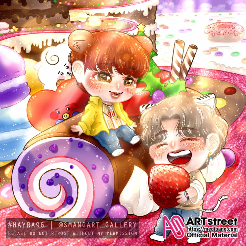 Wellcome To Bora-Bora Land with Jin and V Illust of Hayra96 tracedrawing3rd chibi illustration smangartgallery Artwork cute art hayra96 Trace&Draw【Official】 BTS