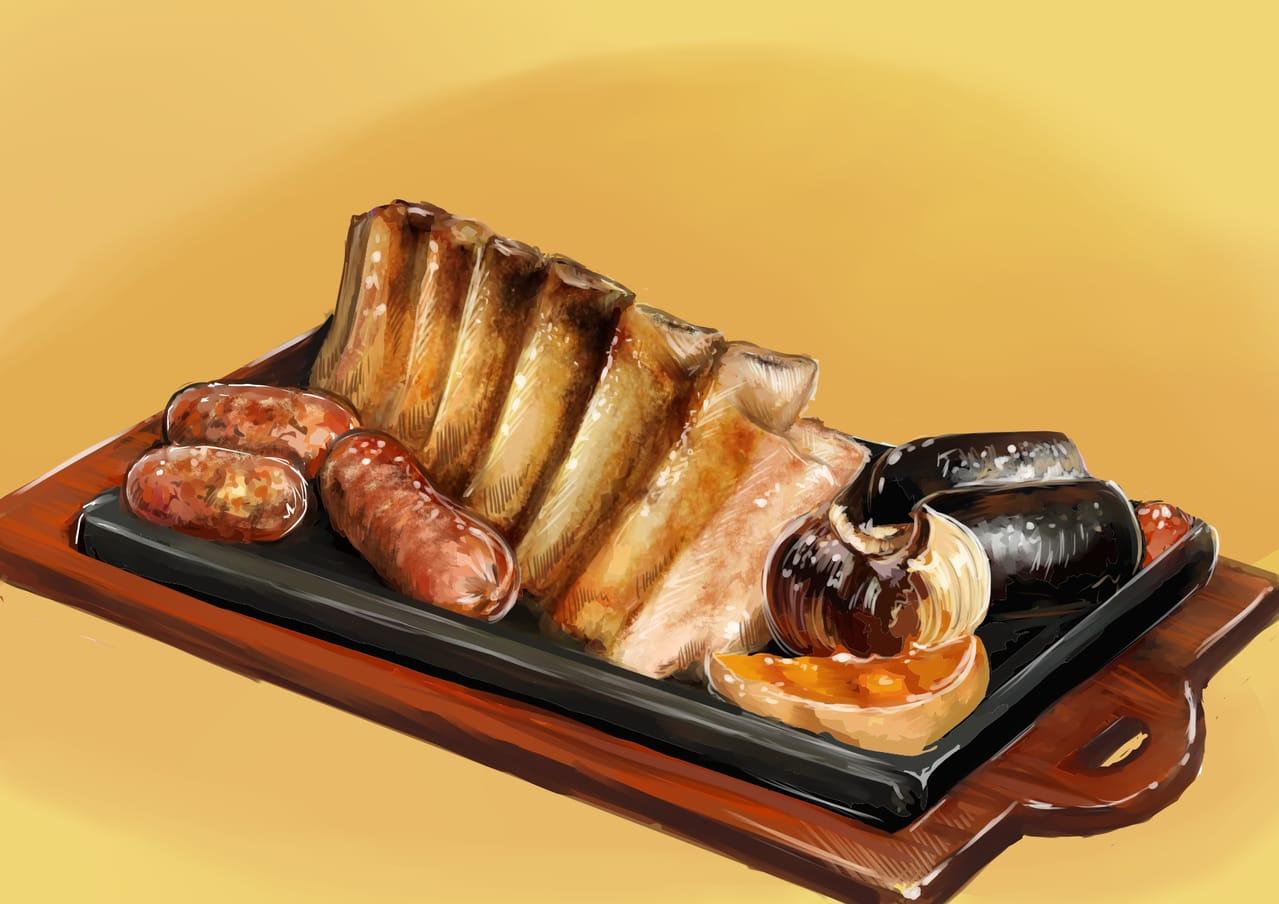 El Asado Illust of Eliana Mauceri October2020_Contest:Food food the Parrilla comida traditional barbecue