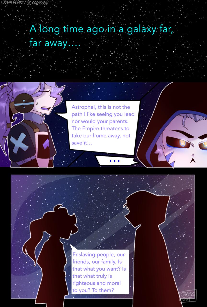 STARWARS comic p.1! Illust of CrossOut oc drawing AU space STARWARS