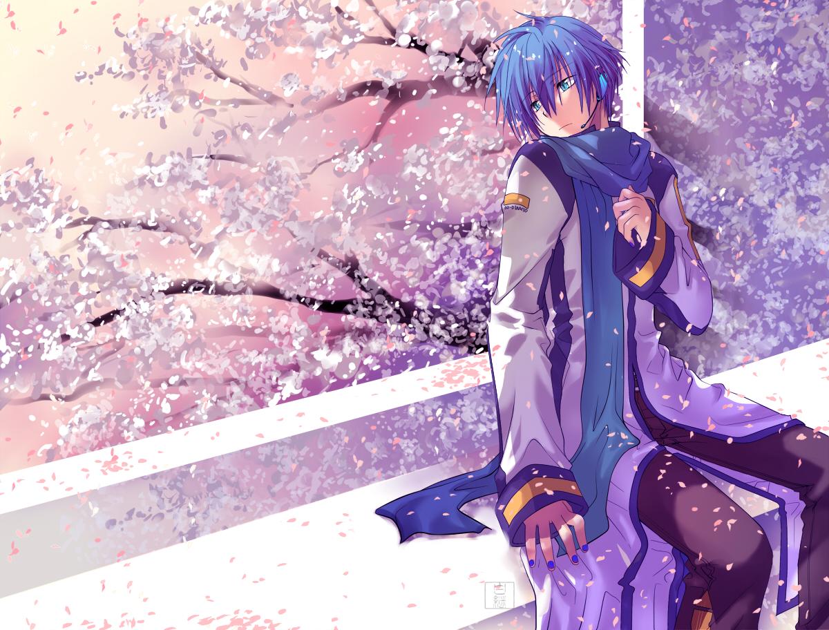 櫻 Illust of 白継 KAITO sakura flower illustration VOCALOID background