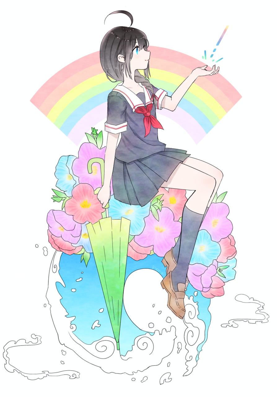 雨はいつか止むさ Illust of nora pastel 時雨 横顔 梅雨 flower umbrella