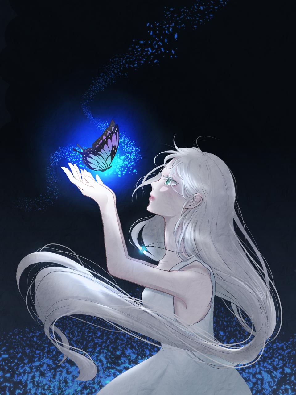 Illust of 유월 sad medibangpaint blue 은발 butterfly original 나비