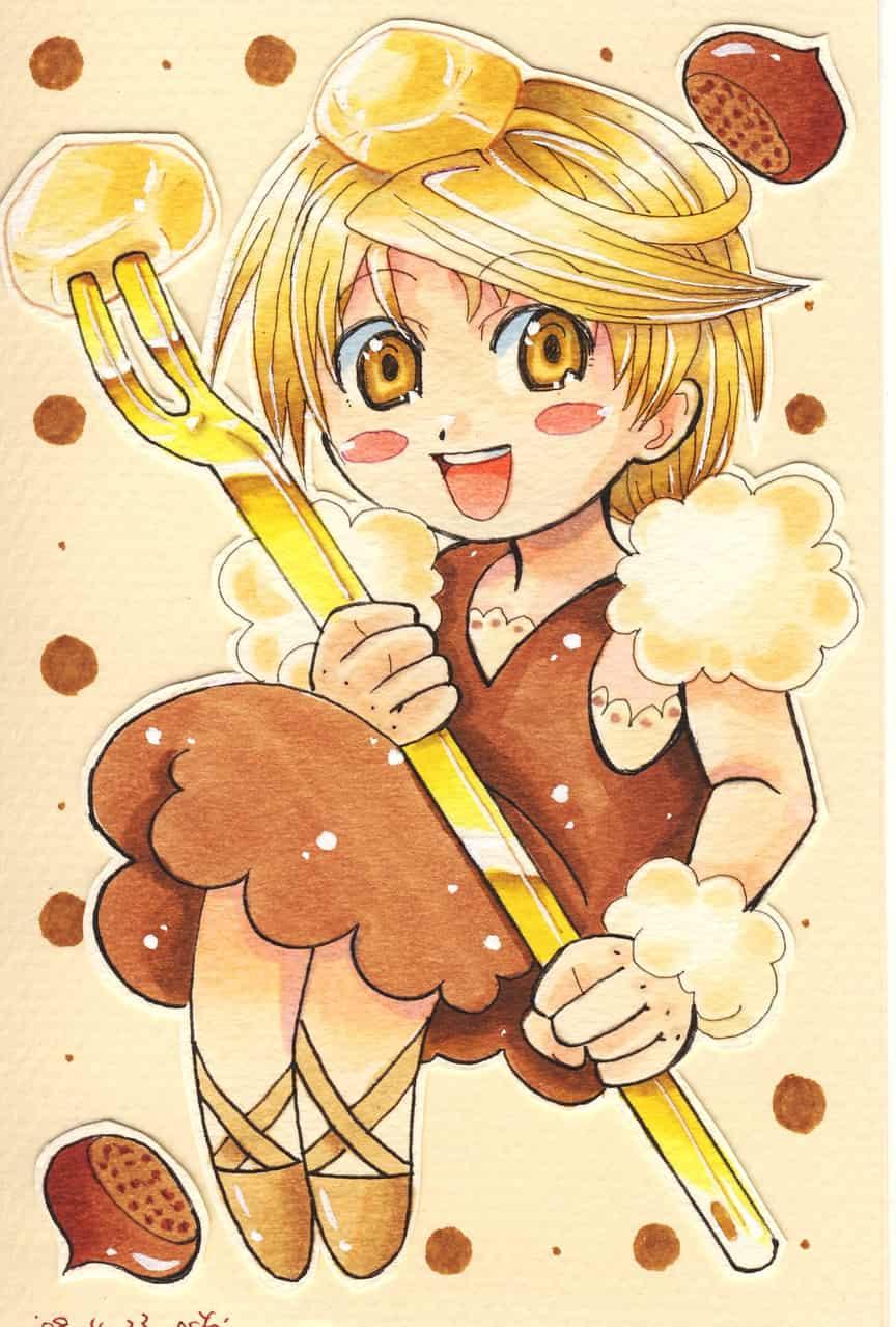 モンブラン Illust of おち☆よしかず(Occhiiy:オッチー☆) October2020_Contest:Food food お菓子 栗 cake original オリジナルキャラクター男の子 モンブラン