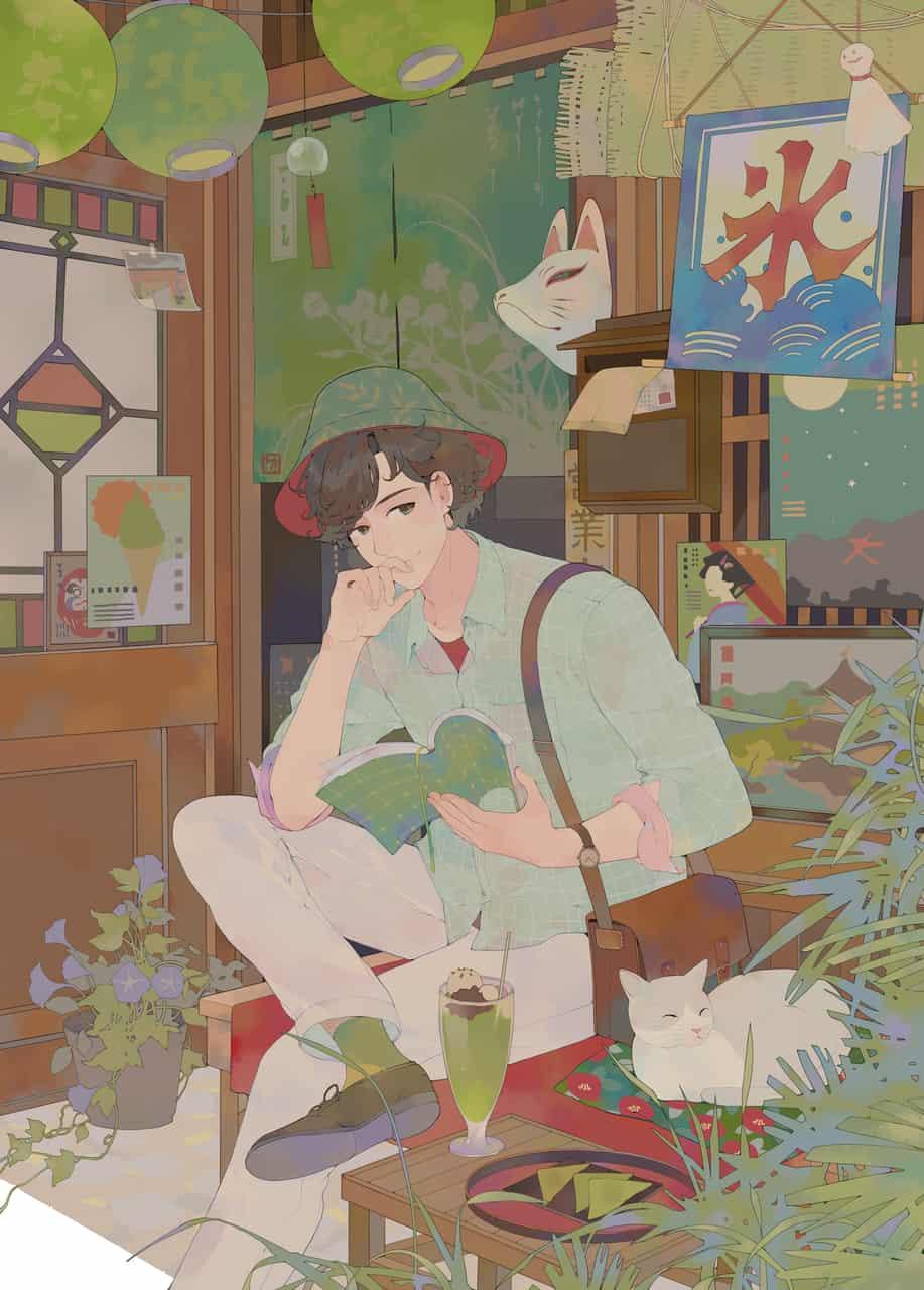旅 Illust of 左萱 kyoto-illust2019 狐面 Japanese_style てるてるぼうず cat のみもの