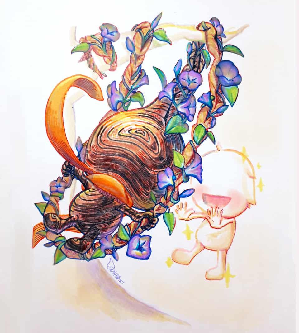 小木人系列 17/ The little wooden 17- Dream Illust of Outter's Space ARTstreet_Ranking May.2020Contest:Cheering traditional wooden original Dream handdrawn flowers color 木頭人 tree series