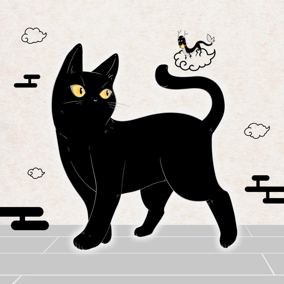 墨猫 Illust of 鯖虎クロ May2021_Monochrome cat 黒猫