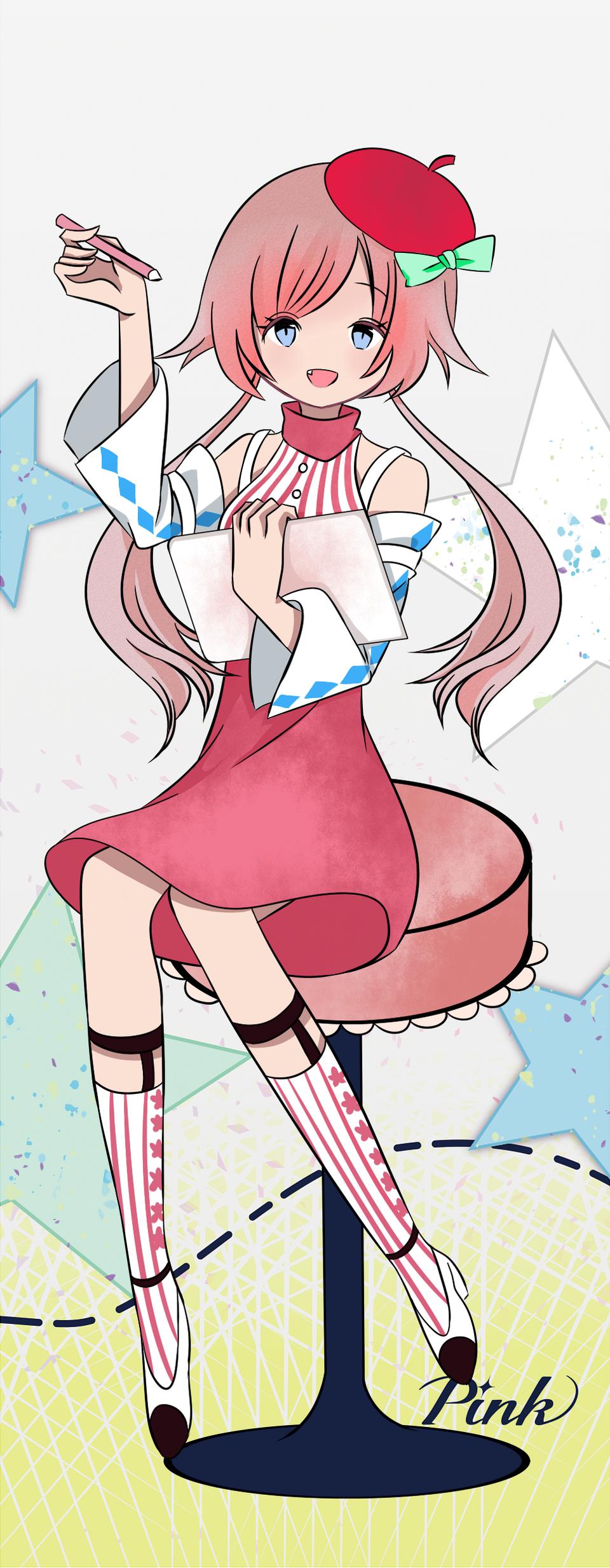 pink Illust of 麻糬兔兔 PASTEL_SKETCH