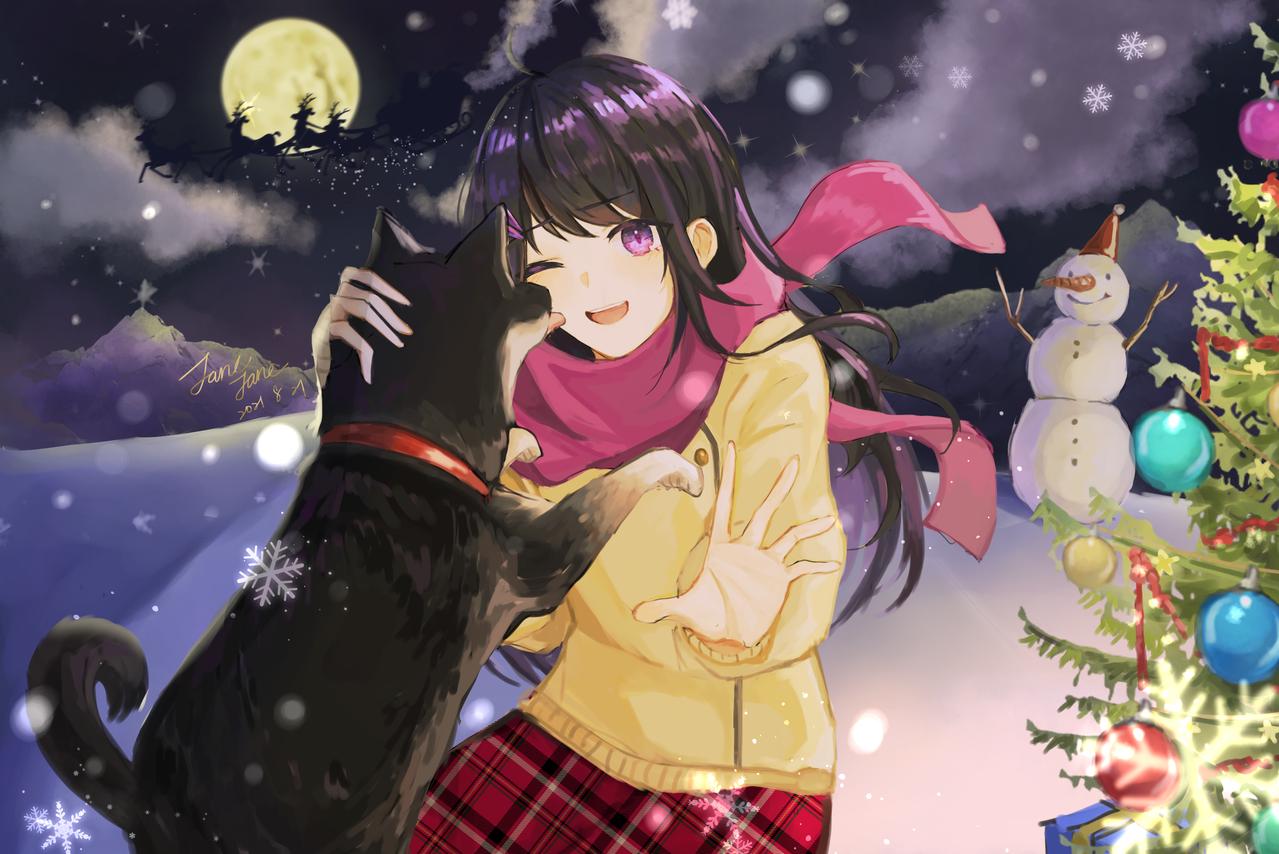予約制のクリスマス Illust of janejane September2021_Girl medibangpaint girl Snowman winter medibang dog ShibaInu snow