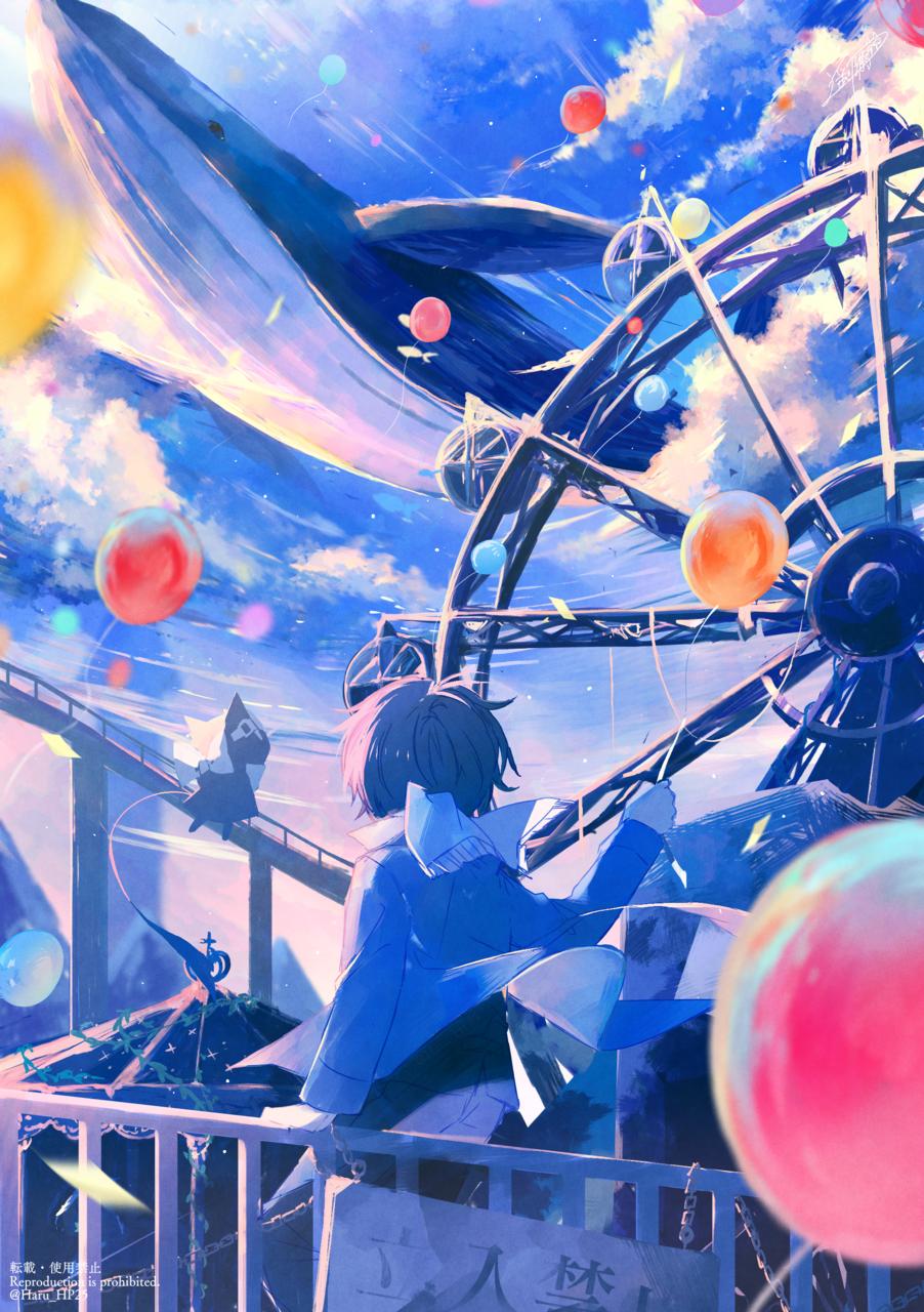 廃色の夢 Illust of 遥川遊 boy blue oc original オリジナル創作