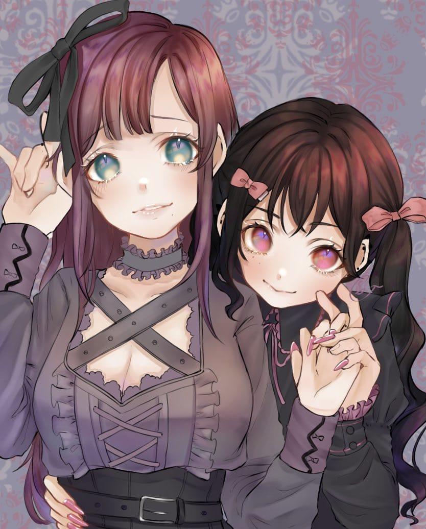 Illust of ぐら ぺぴ子 黒髪 twin_ponytails oc original girl pinkhair 病み