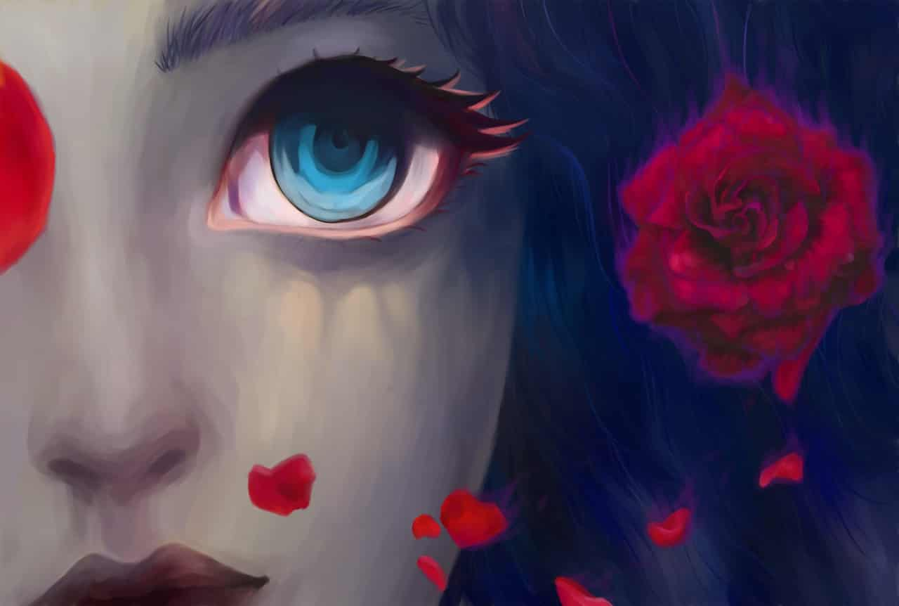 Rose with blue