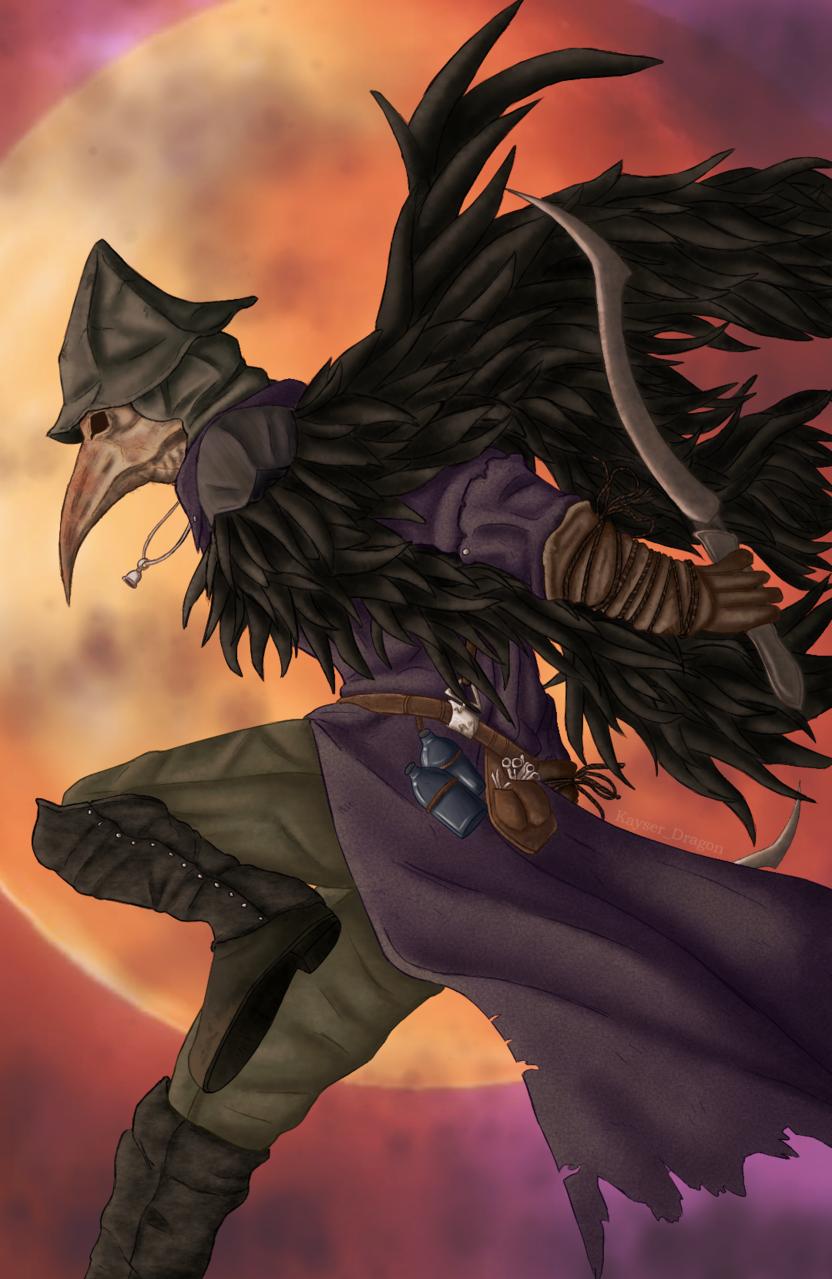 Eileen, the Crow Illust of Khaezher medibangpaint moon Eileen crow digital game Bloodborne hunter