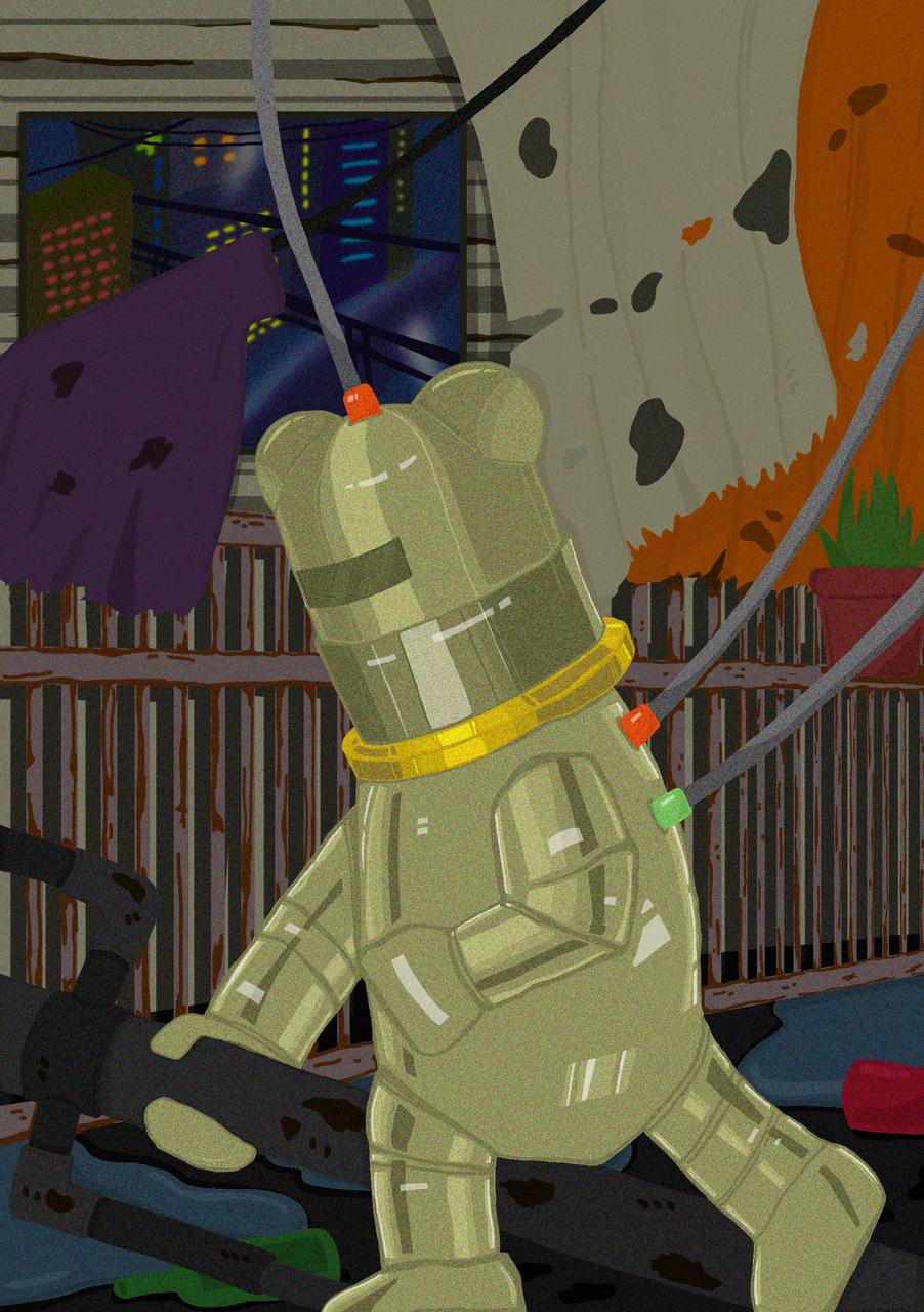 Robot Bear Illust of JO. November2020_Contest:Cyberpunk Ilustration bear robot