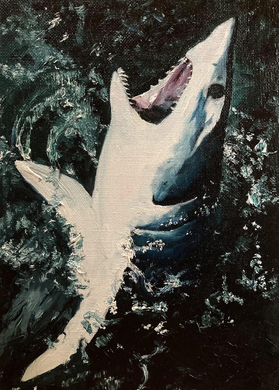 海面から顔を出すサメ Illust of チリエビチ AnalogDrawing 油絵 サメ