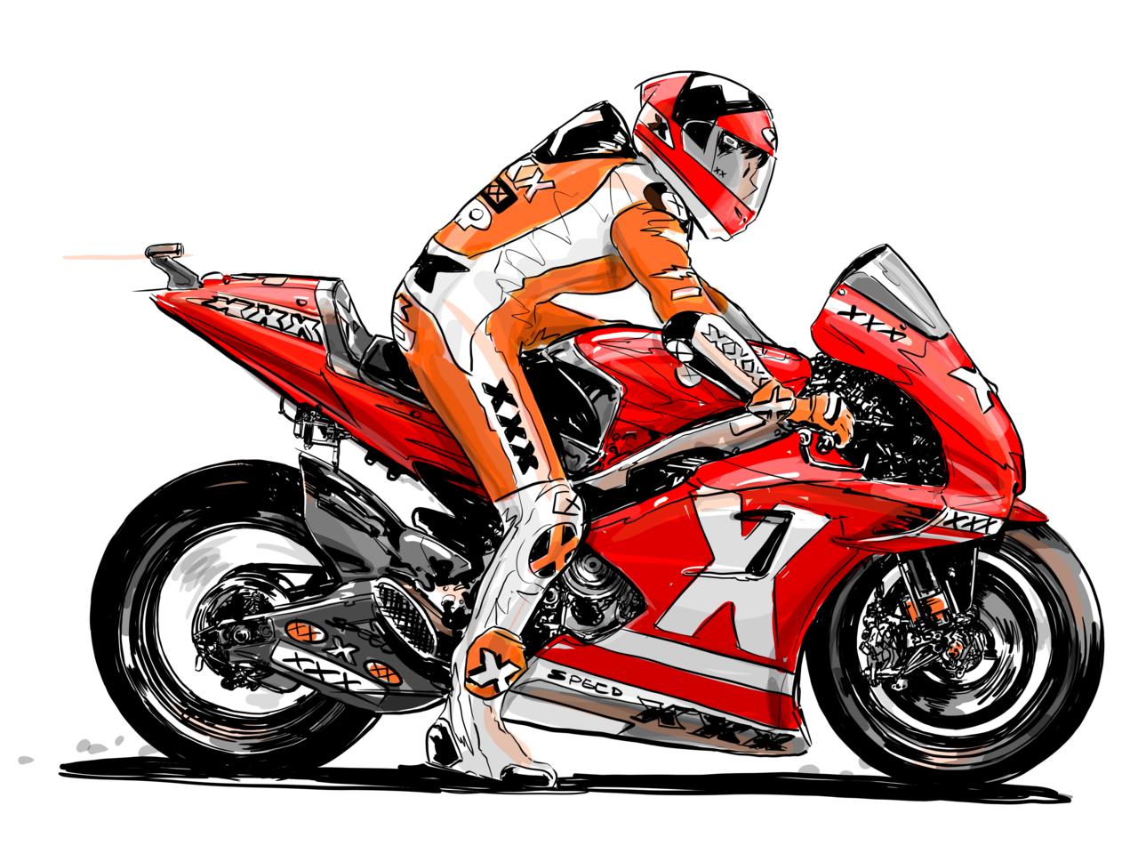 super sports Illust of smallumbrella medibangpaint doodle motorbike xp_smallumbrella illustration motorcycle