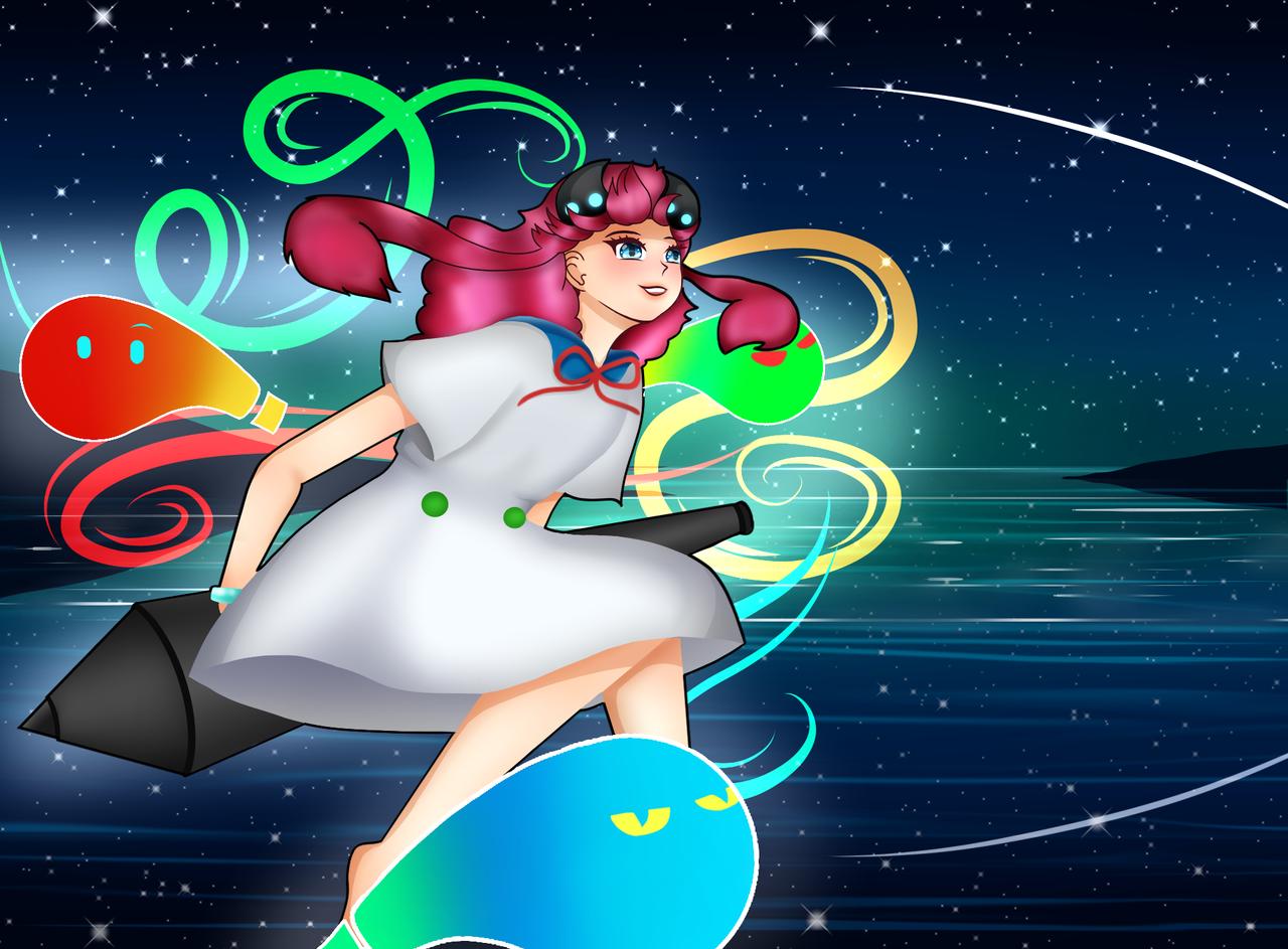 Medichan!! Illust of JeeAreAy General_Election_Medi-chan MediBang_General_Election iPad_raffle medichan night shootingstar star ocean flying