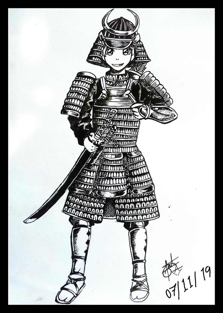 Samurái dibujado en tradicional