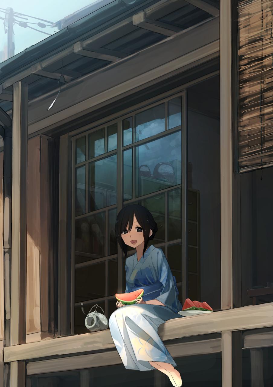 暑中お見舞い... Illust of あやがたひまり Japanese_style original yukata summer girl