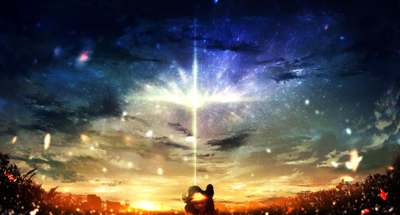 世界の片隅で Illust of ちびろぅё!!あっとまきゅん sunset 夜空 背景イラスト background