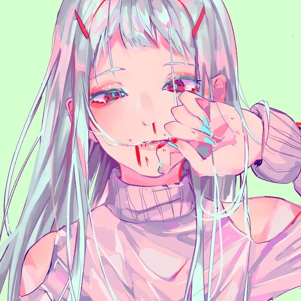 Madder Illust of Iriclo ヘアピン girl nosebleed hair