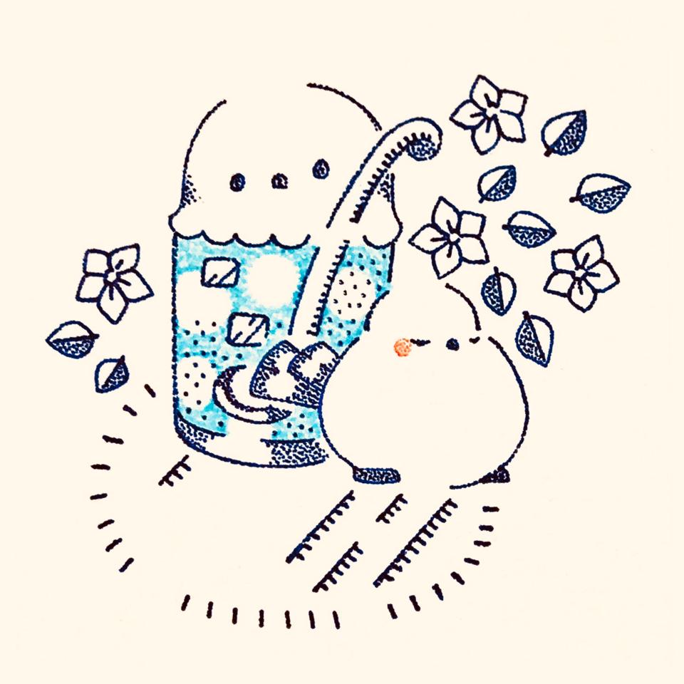クリーム エナガ   ソーダ。 Illust of 兎卯子 ARTstreet_Ranking_Contest 小鳥 アナログ シマエナガ original とり
