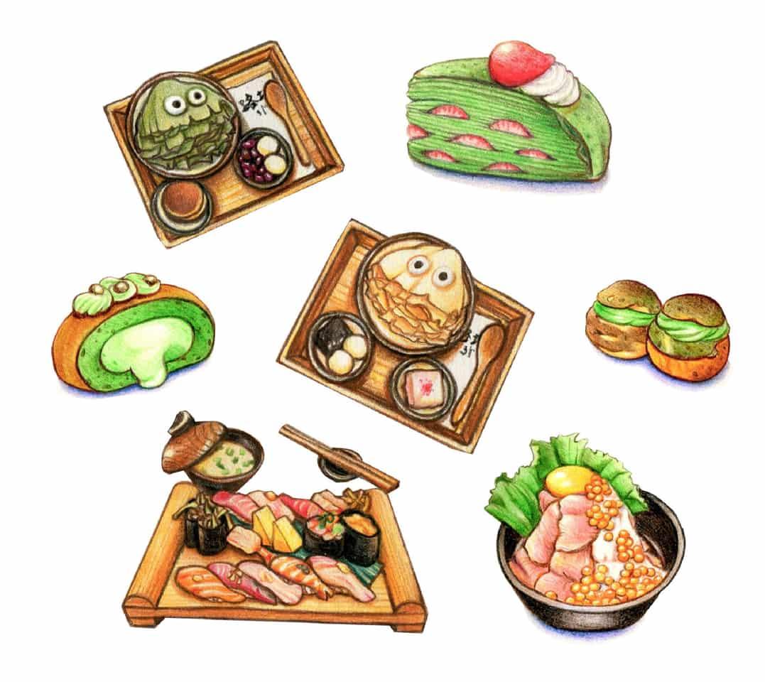 日本美食插畫 Japanese Cuisines Illust of Rose Chiu ARTstreet_Ranking May.2020Contest:Cheering April.2020Contest:Color drink sweet sushi Japan cake food taiwan yum ice dessert colorful