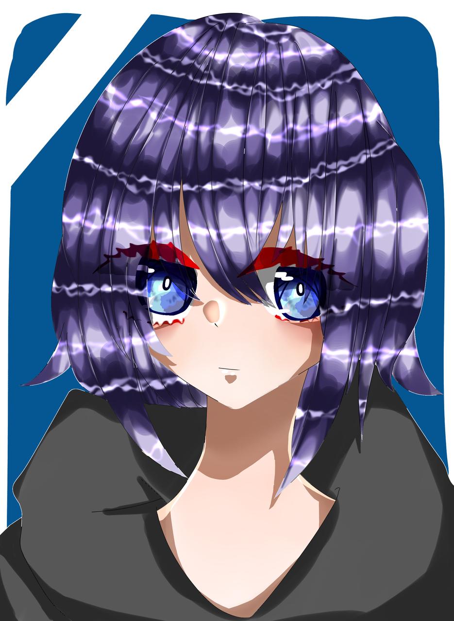 女の子 Illust of 如月来蕾 medibangpaint girl purple oc hoodie black