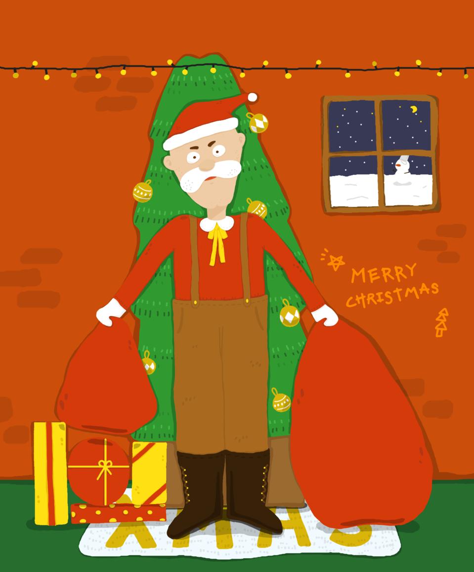 My santa grandpa. Illust of JO. December2020_Contest:Santa Christmas art illustrations original Santa