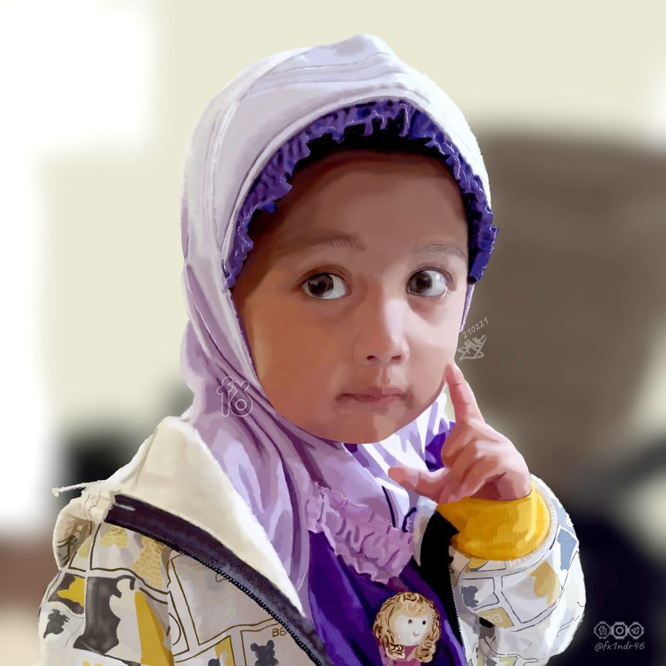 My Niece: Dia Illust of fx1ndr46 January2021_Contest:OC hijab childrenportrait realistic fx16 nieceportrait hijabgirl moslemcharacter digitalpainting fx1ndr46 Portraitpainting