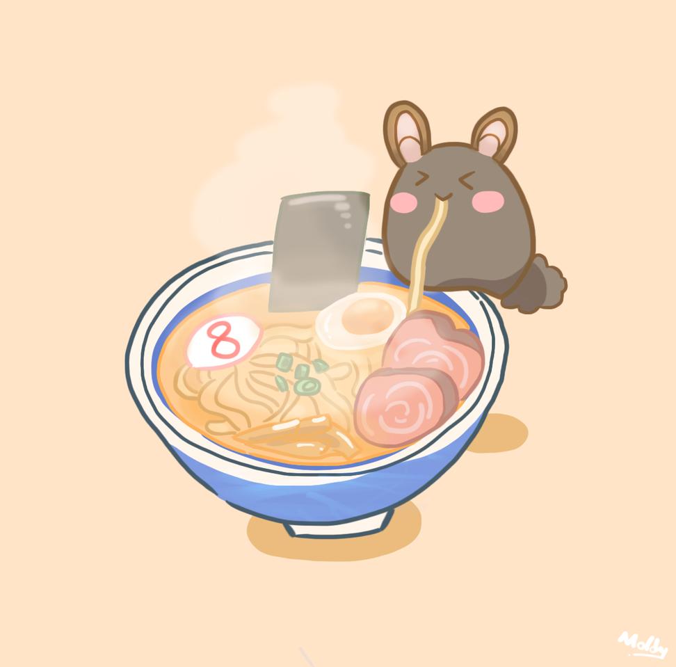 8番らーめん Illust of MoldyRabbit photoshop fanart Ramen illustration VtuberTH