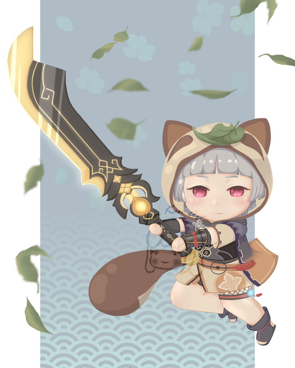 Sayu Illust of Yan chibi girl GenshinImpact cute fanart genshinimpactfanart tanuki