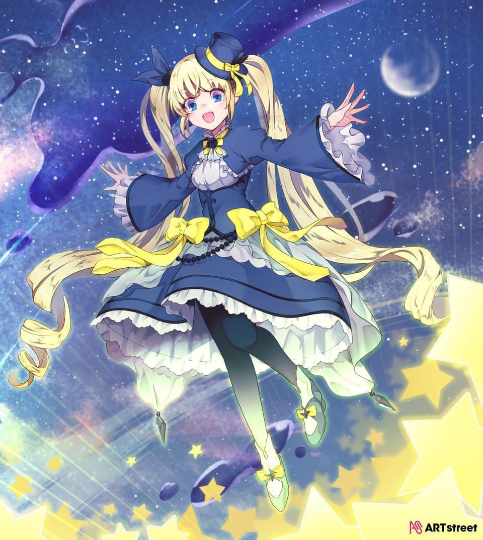 midnight stroll Illust of 杏糖 ColoringContest girl 夜空