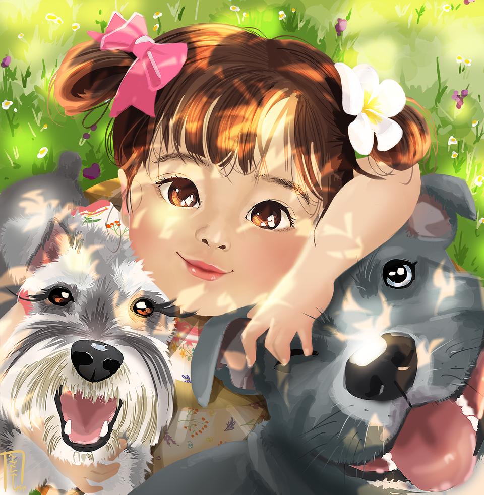 playing with my best friends Illust of karenini DOGvsCAT_DOG child playingwithdogs dog schnauzer sunnyday littlegirl summer pitbull ms
